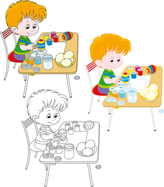 lovely children design elements vectors