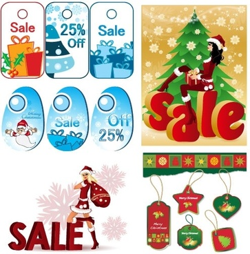lovely christmas discount sales vector