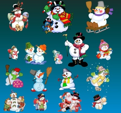 lovely christmas snowman set psd layered