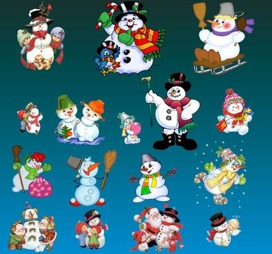 lovely christmas snowman set psd layered