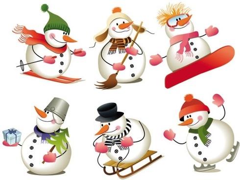 lovely christmas snowman vector
