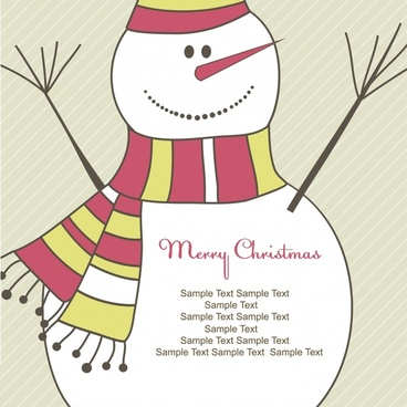 christmas banner snowman icon decor colored flat sketch
