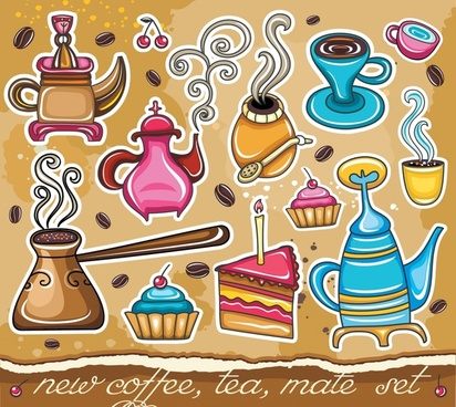 food drink background classical cake cup pot coffee icons
