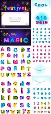 lovely color threedimensional letters and numbers vector