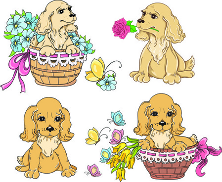 lovely dog design vector graphics