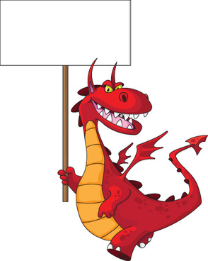 lovely dragon cartoon elements vector