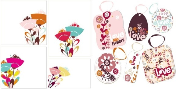 lovely flower theme vector