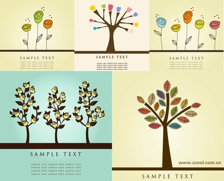 lovely flower tree vector