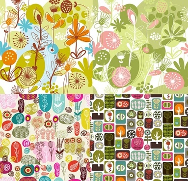 lovely flowers and plant vector