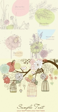 lovely flowers plants vector