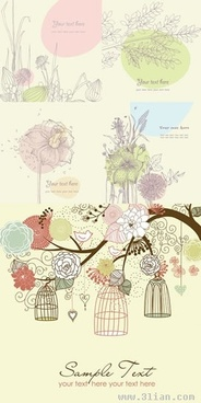nature background templates colored classical botany sketch