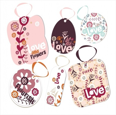 flower tags templates nature theme classical colored shapes