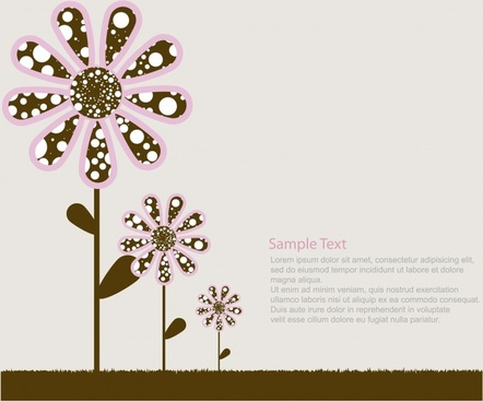 lovely flowers trees vector