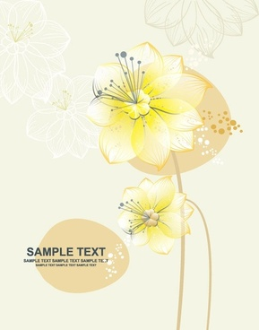 flowers background design colored decoration vignette sketch