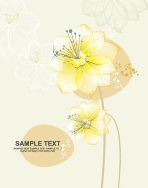 flowers background design colored decoration vignette sketch