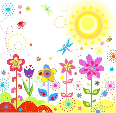 nature painting colorful flowers sun insects sketch