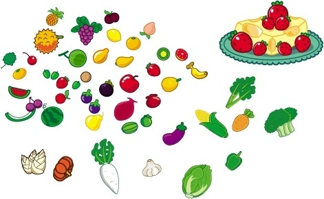 lovely fruit and vegetables vector