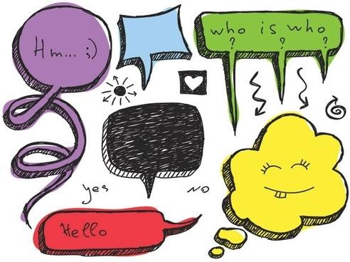lovely handdrawn dialogue bubble vector 4