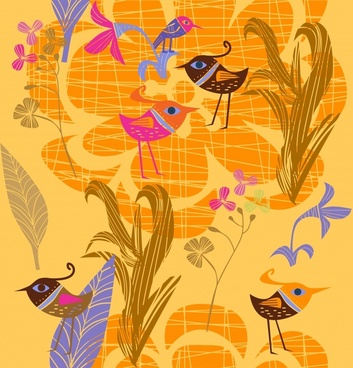 nature painting classic flat handdrawn birds floral sketch