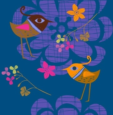 lovely handpainted flowers birds vector 2