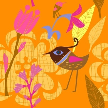 lovely handpainted flowers birds vector 3