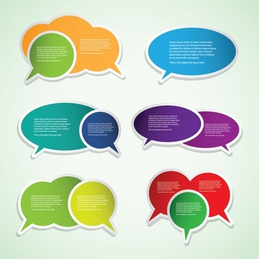 speech bubble labels templates colorful flat cut paper