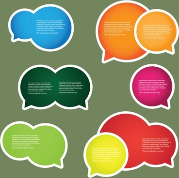speech bubble stickers templates colorful flat rounded sketch