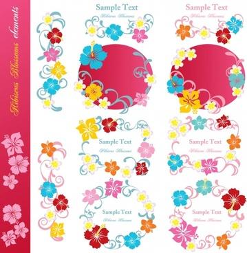 decorative floral elements colorful flat design