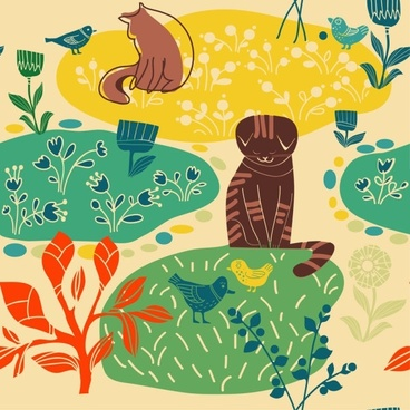 lovely lines issued cat pattern 02 vector