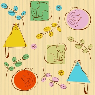 lovely lines issued cat pattern 05 vector