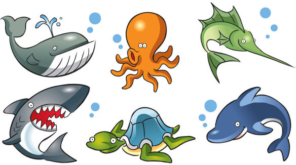 lovely marine animal design vector