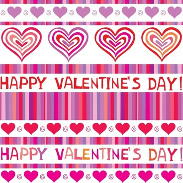 valentine background flat handdrawn hearts stripes texts decor