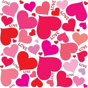 love background colored flat hearts decor
