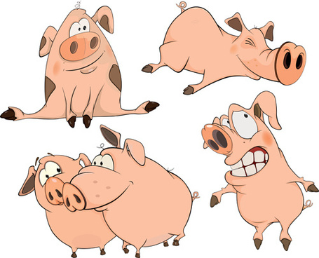 lovely pigs cartoon vector