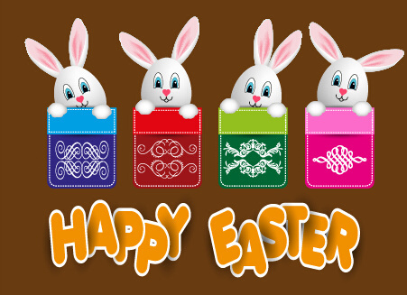 lovely rabbit with easter holiday background vector