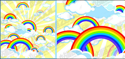 Lovely rainbow vector illustrations material