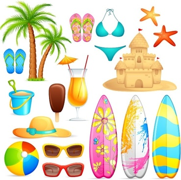 lovely seaside stickers 04 vector