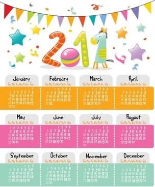Lovely Style Calendar for 2011 Vector Graphic