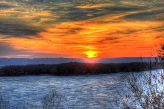lovely sunset on the great river trail wisconsin