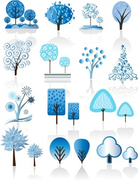 trees icons blue flat shapes sketch