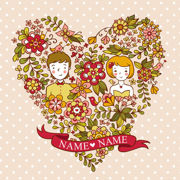lovers and heart floral wedding invitation cards vector
