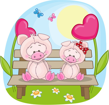 lovers lovely animals vector set