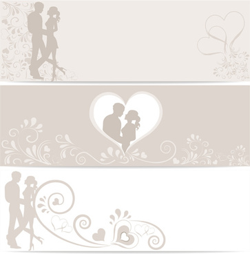 lovers with heart design vector banners