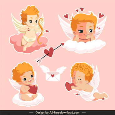 loves icons cute cupid angle sketch cartoon design