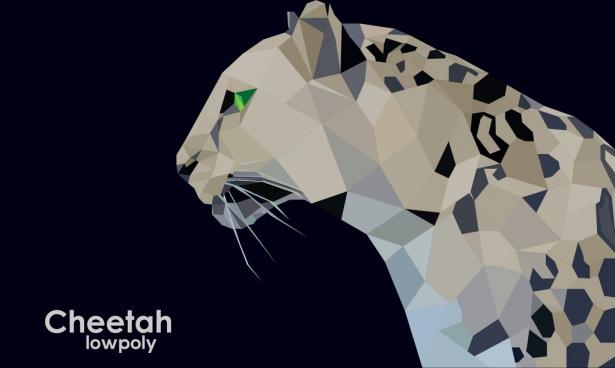 low poly cheetah