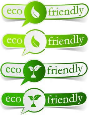 ecology labels templates green 3d sketch