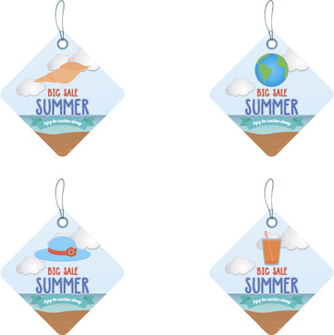 lozenge summer sale tags vector set