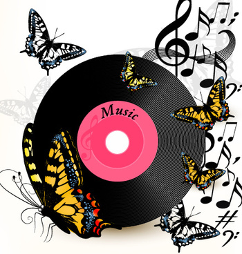 lp with music vector background