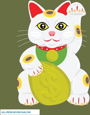 Lucky Cat Vector Wallpaper