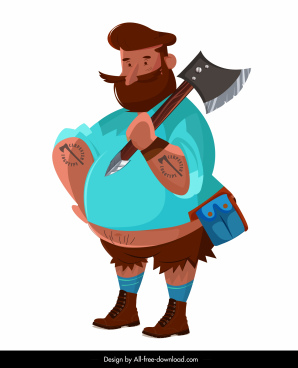 lumberjack icon colored cartoon character